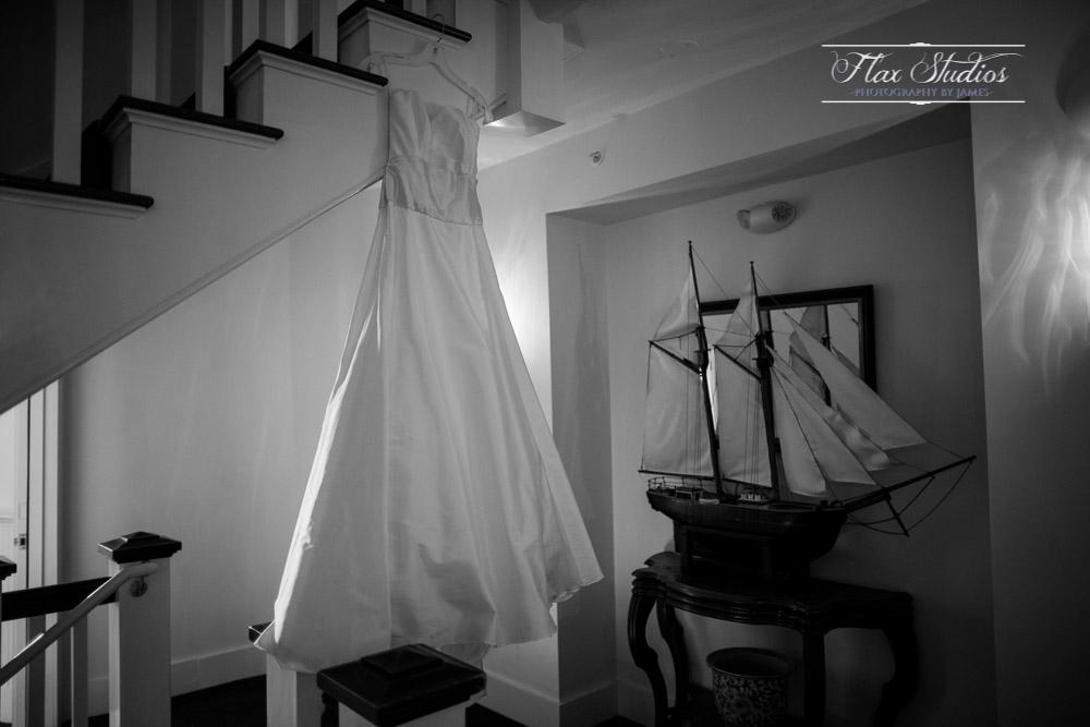 Wedding dress on hotel stairs