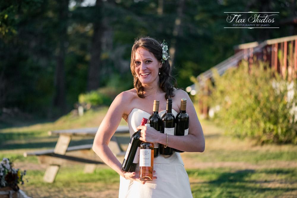 Funny wedding photo with wine