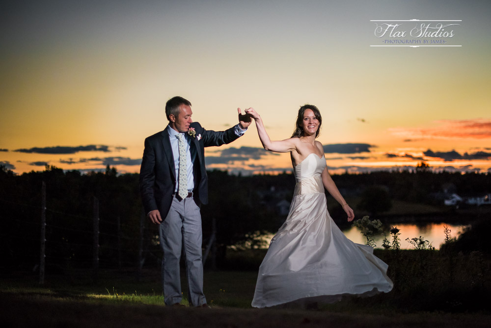 Sunset wedding portraits at blueberry cove