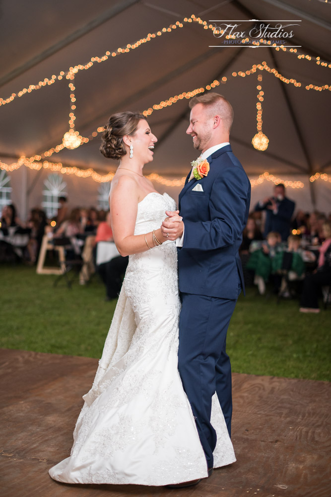 Happy couple during the first dance