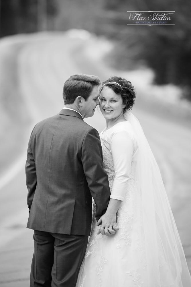 bride looking back formal