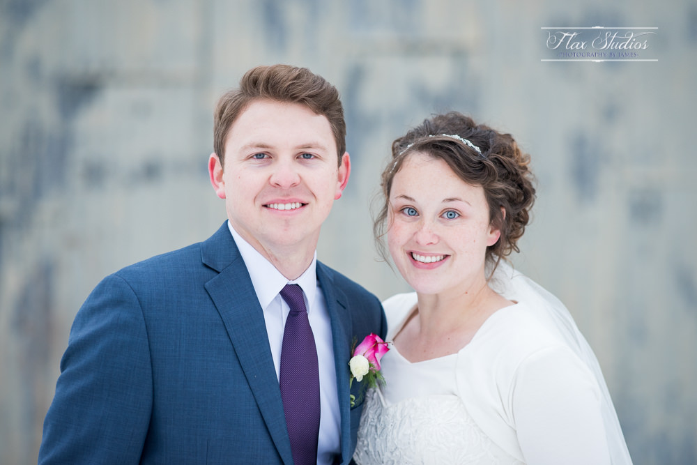 close up bride and groom portrait