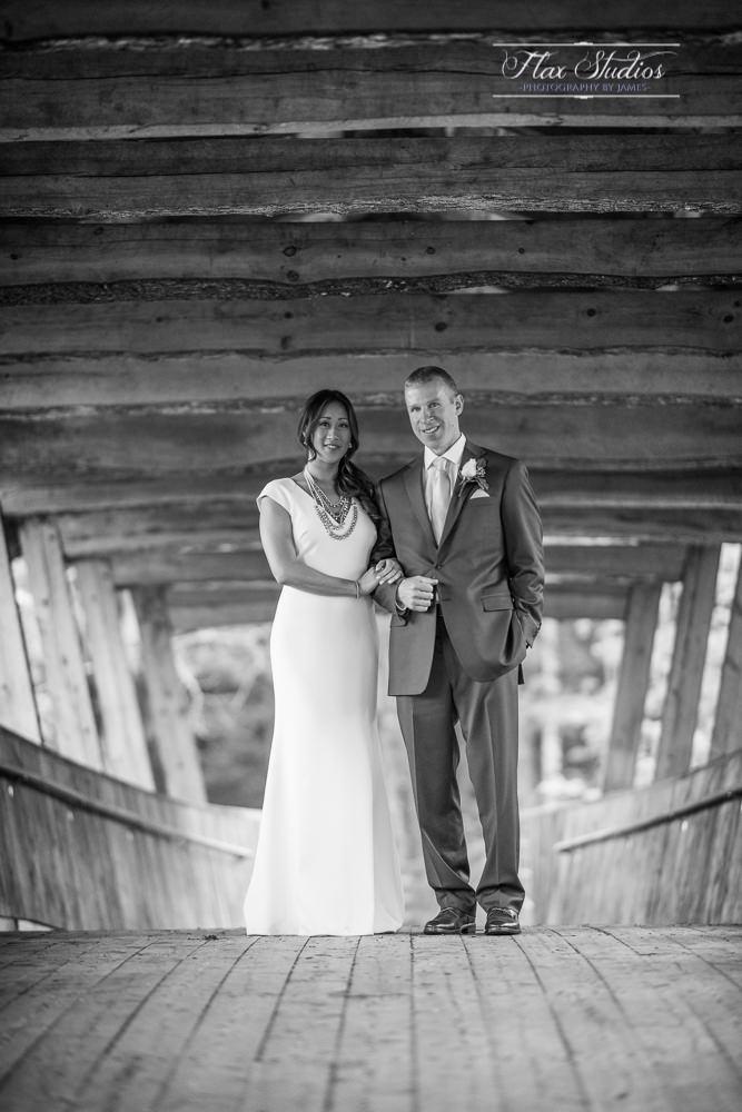 Covered Bridge Wedding Portrait