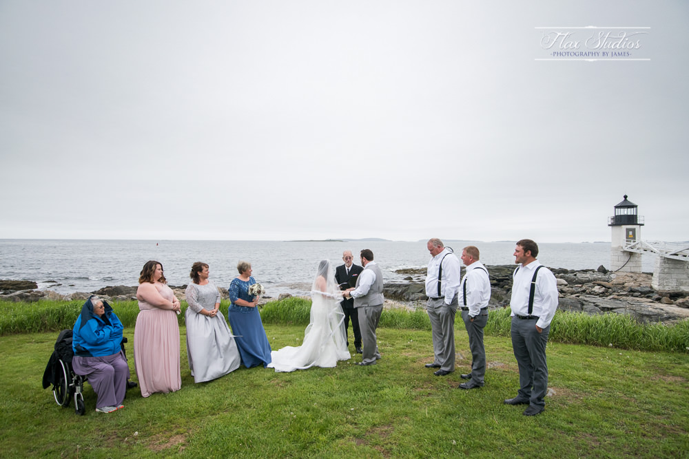 small wedding at marshall point lighthouse
