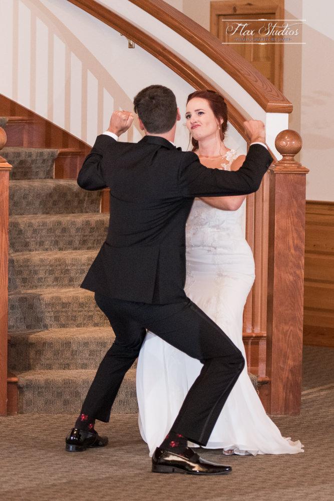 funny bride and groom reception entrance