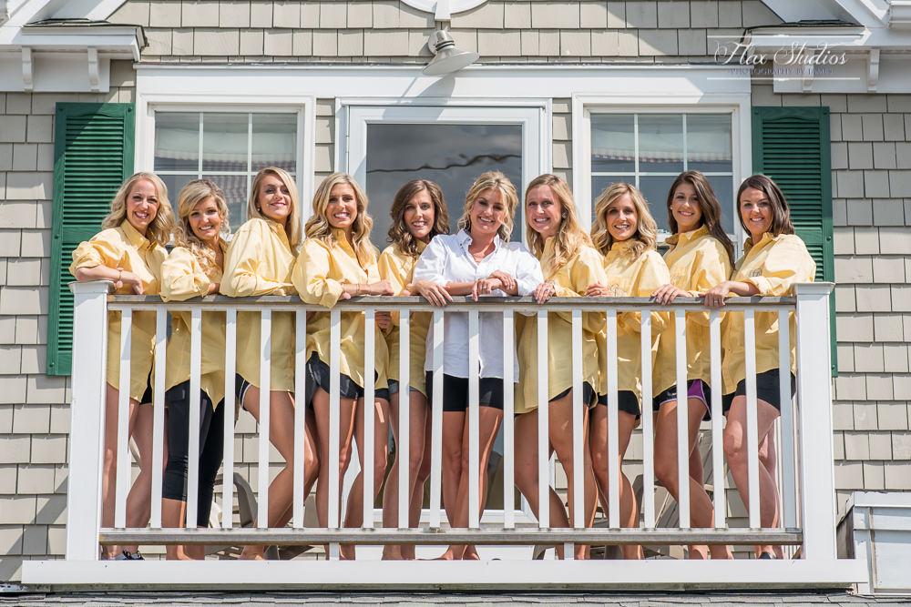 Peaks island bridesmaids photo on outside deck