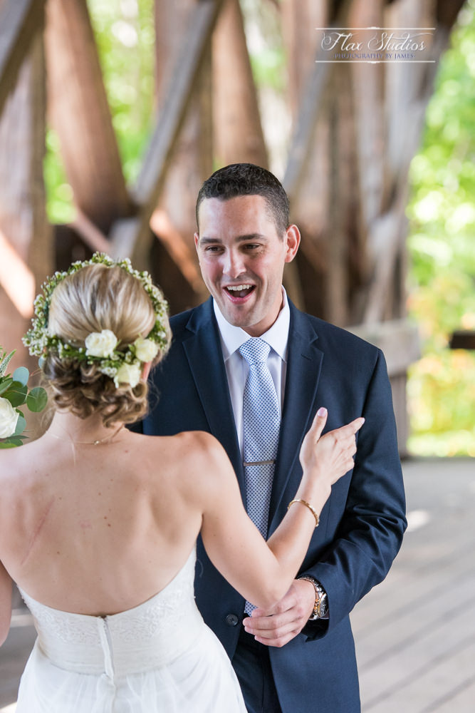 grooms reaction during the first look