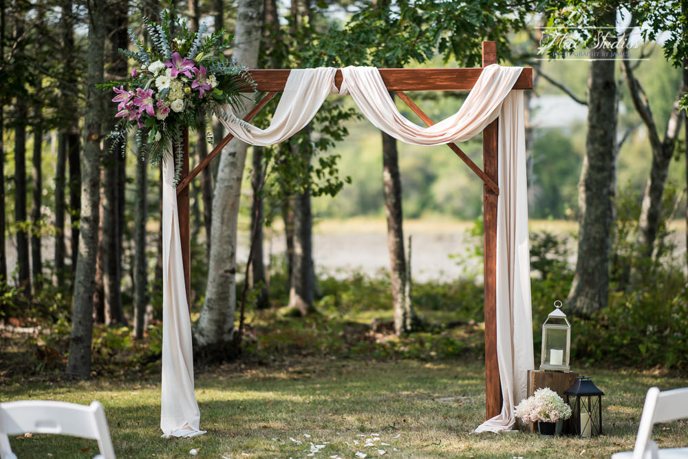 homemade arch for a backyard wedding