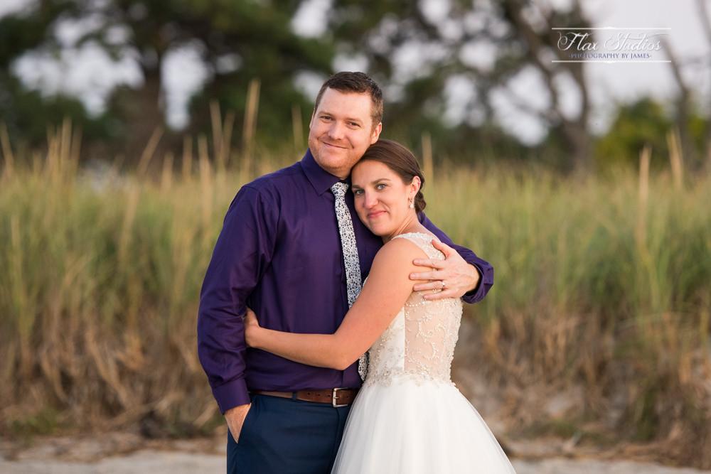 Ferry Beach Sunset Wedding Portrait
