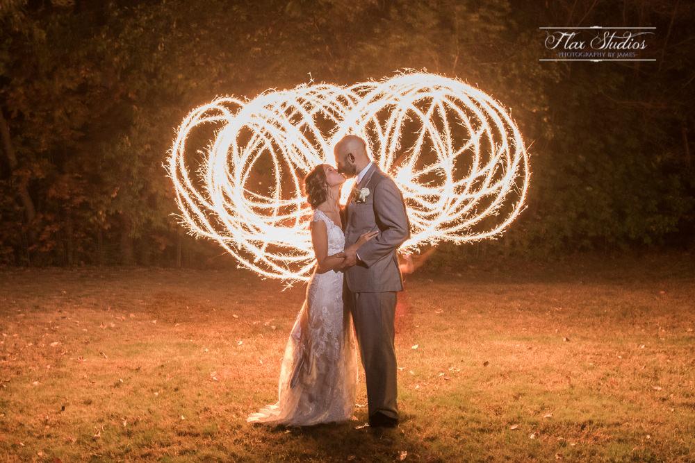Long exposure sparkler wedding photos
