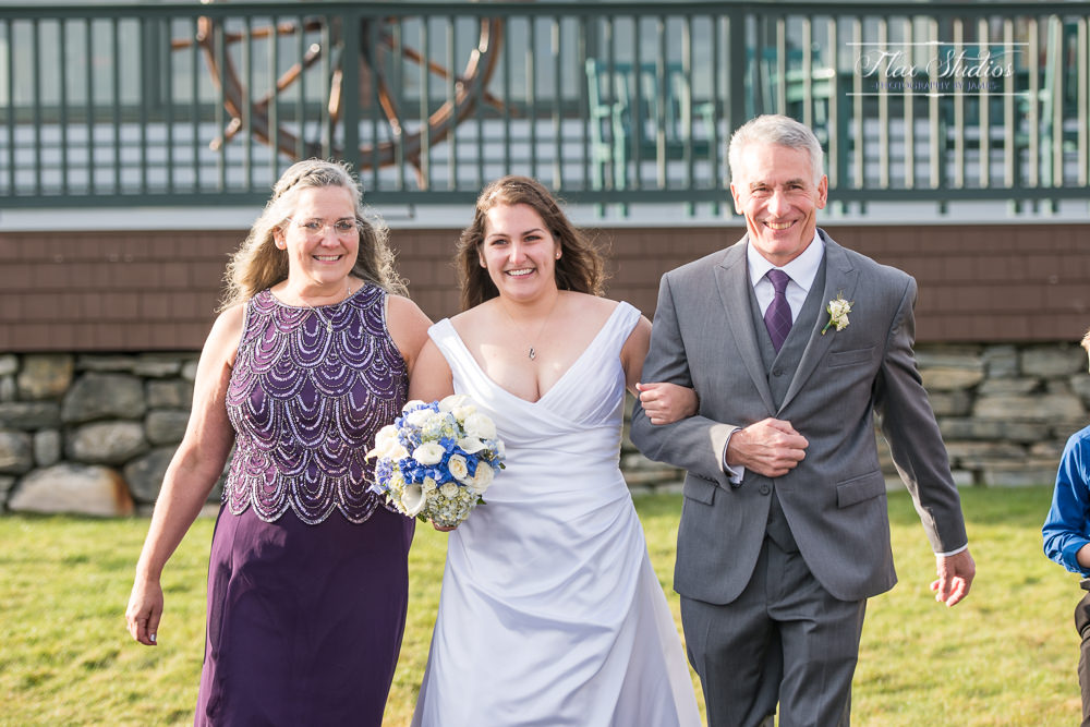 walking down the aisle with both mom and dad