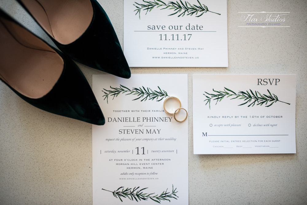 wedding invitation and accessory details