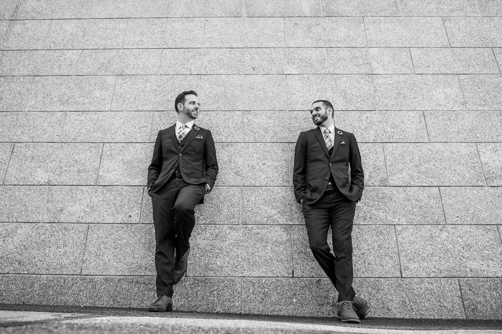 Black and white grooms photos