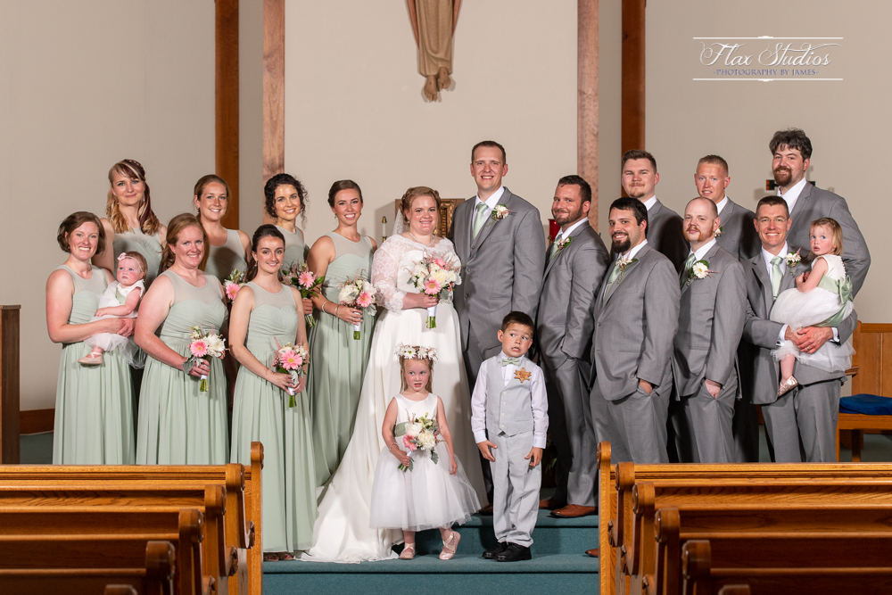 bridal party portraits our lady queen of peace wedding