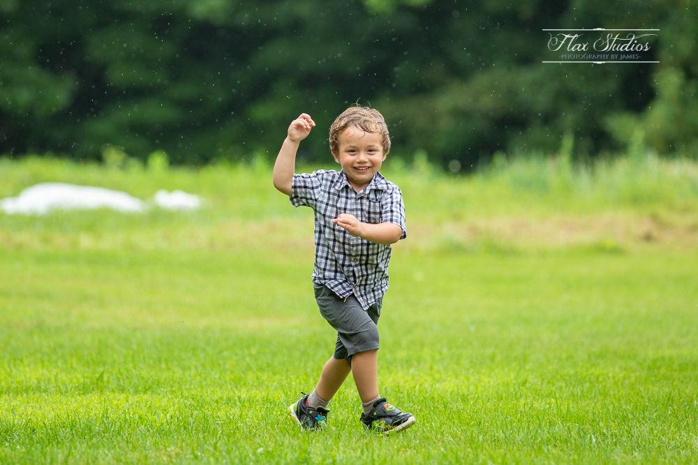 kids running in the rain