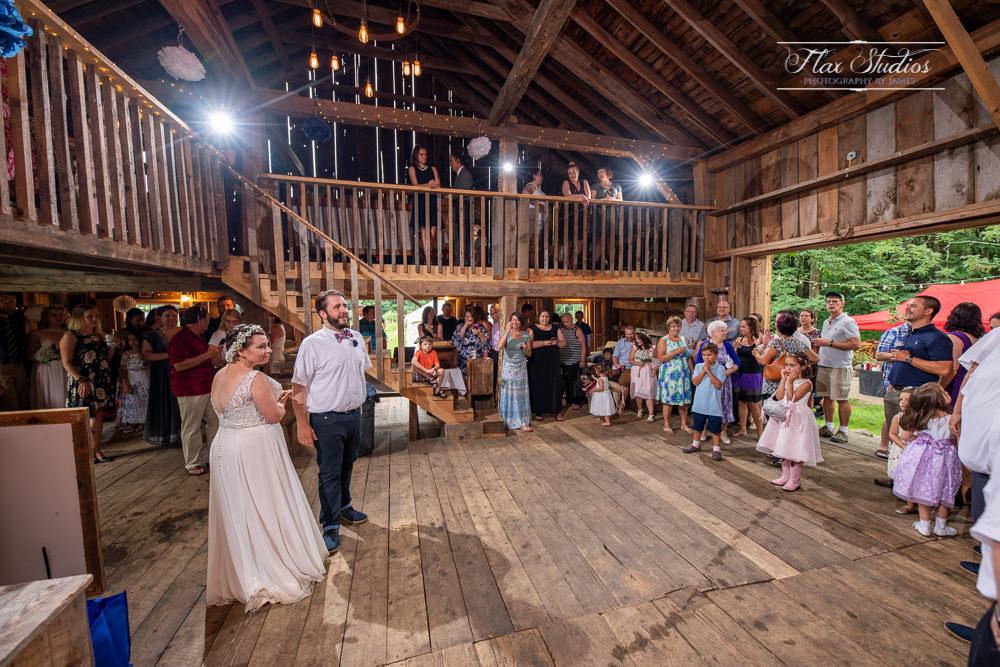 inside caswell farm wedding barn
