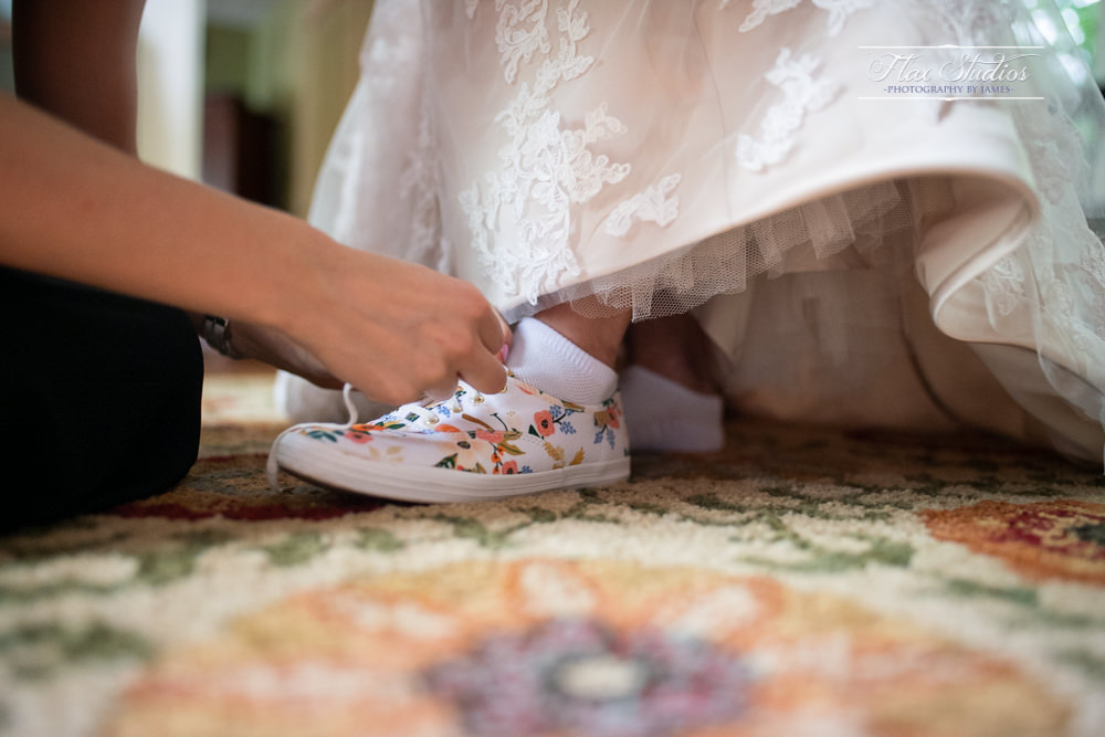 flower sneakers for a bride