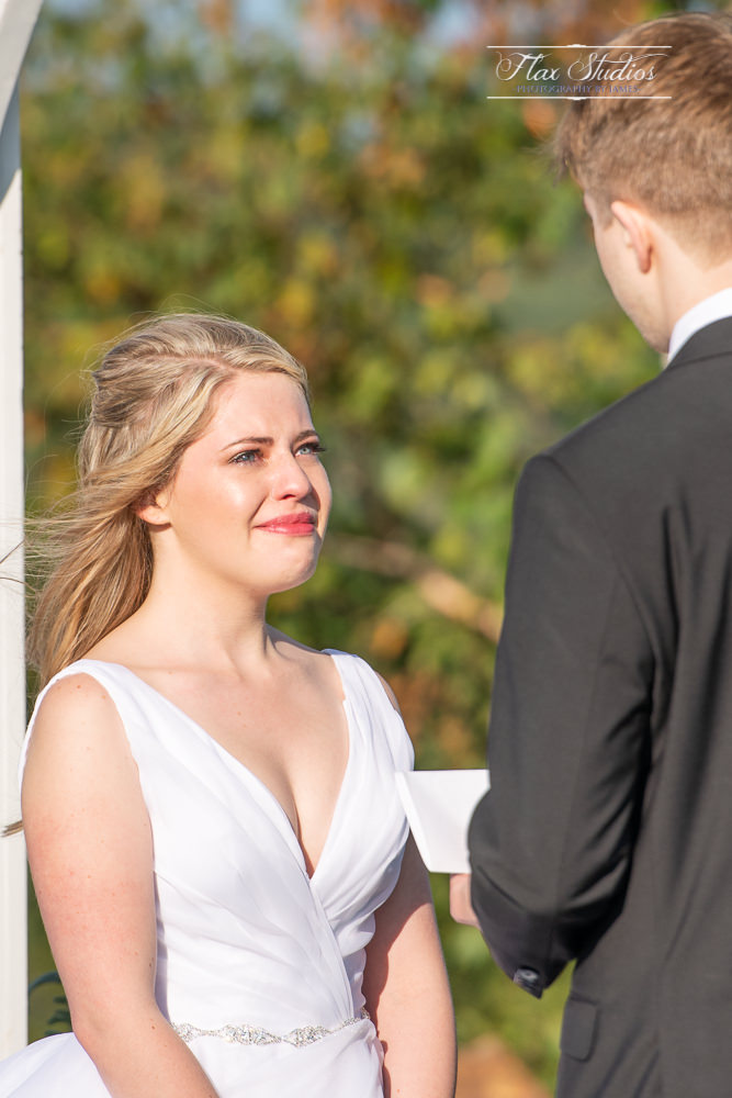 Point Lookout bride crying during the vows