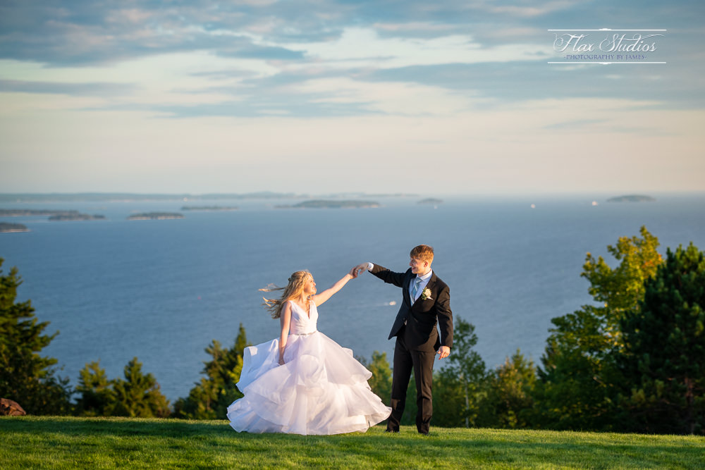 Point Lookout Maine Wedding summit sunset