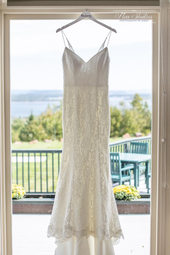 hanging a wedding dress in window