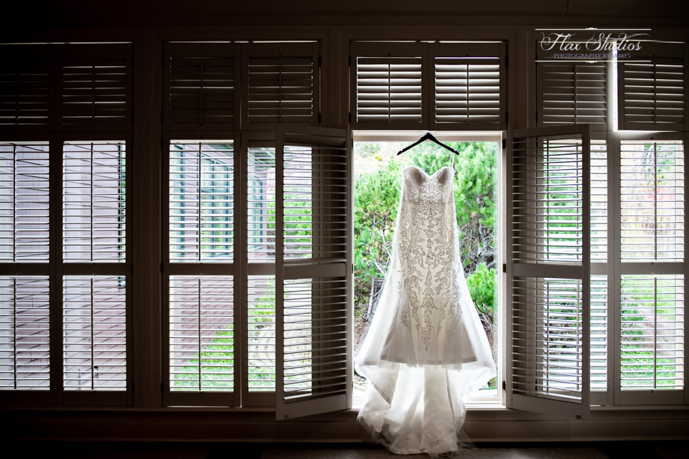 Hanging the wedding dress in a window