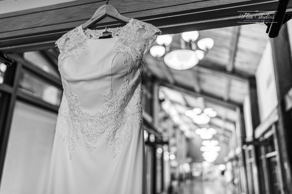 wedding dress hanging at the samoset resort