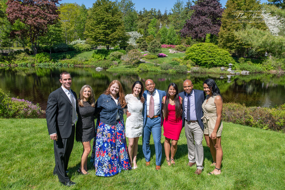 group wedding photos at the Asticou Azalea Gardens