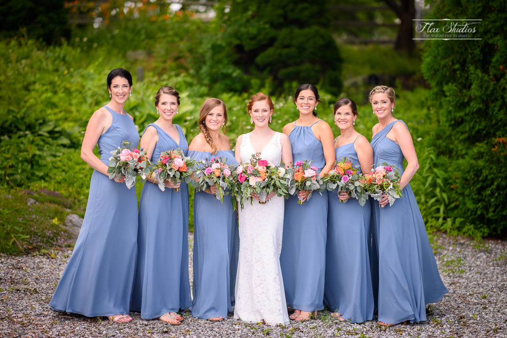bride with her bridesmaids at the samoset resort in Rockport, ME