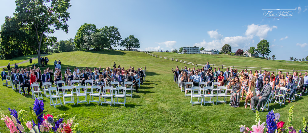 Ultrawide group photo with all of the wedding guests