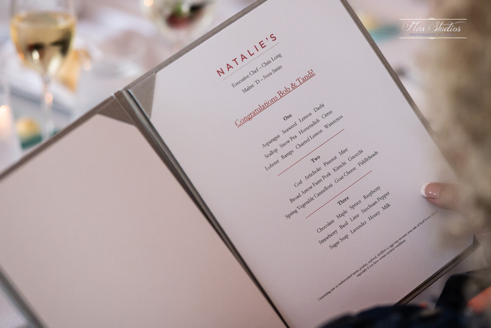 Custom Wedding Dinner Menu at Natalie's Restaurant in Camden