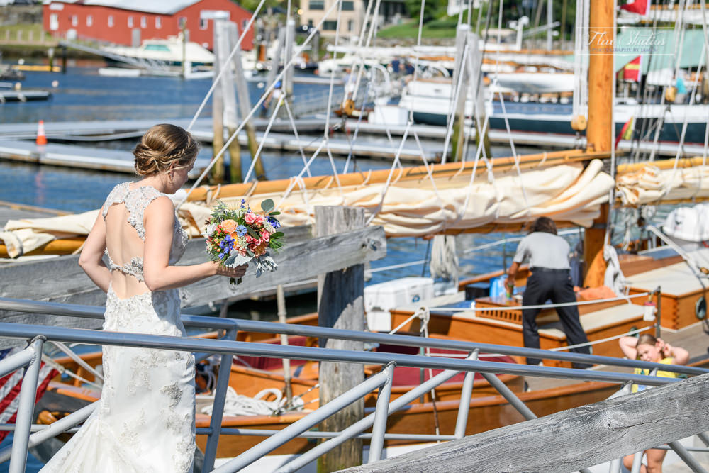 boarding a schooner in Camden, Maine