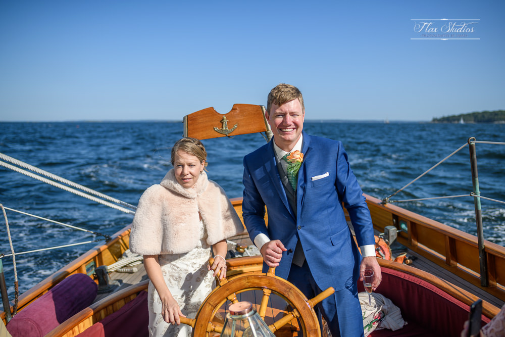 bride and the groom captaining the schooner olad