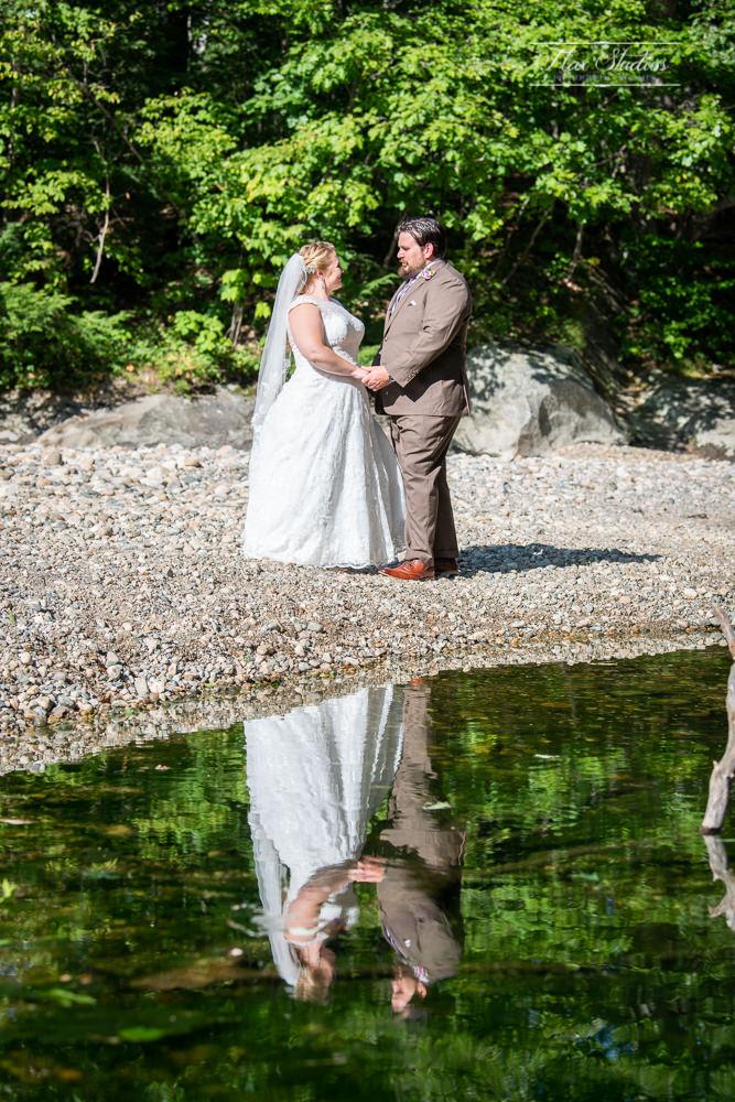 Wedding reflection photo at Newry Covered Bridge