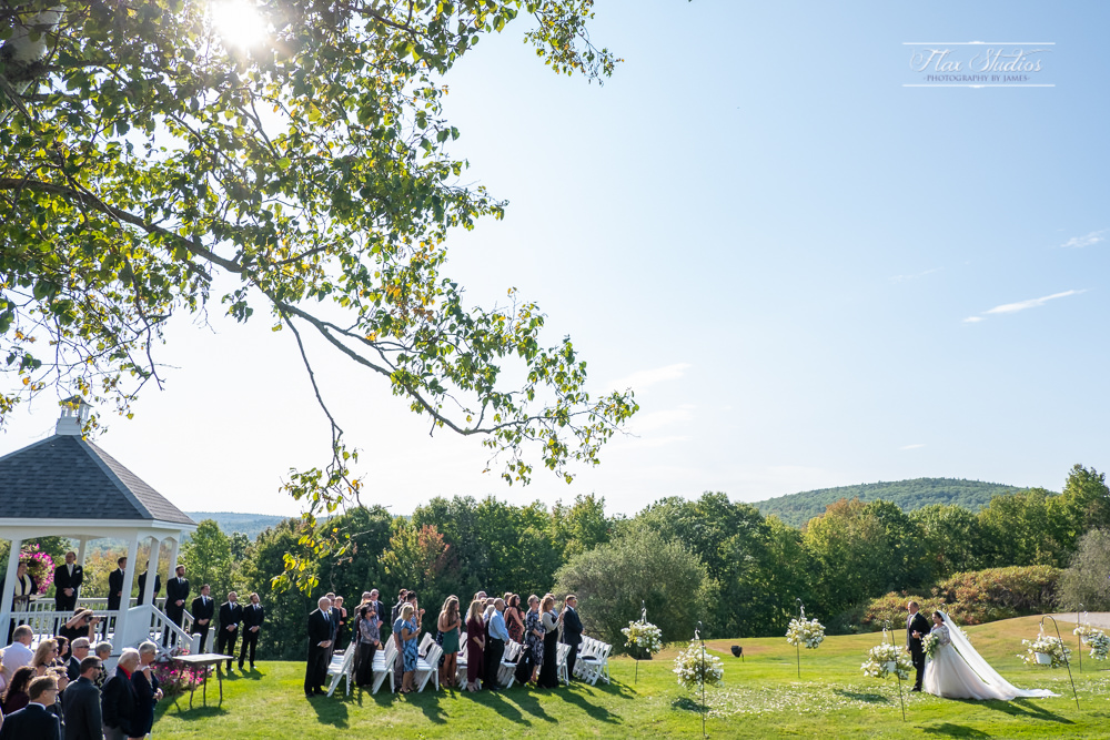 outdoor wedding ceremony at the lucerne inn