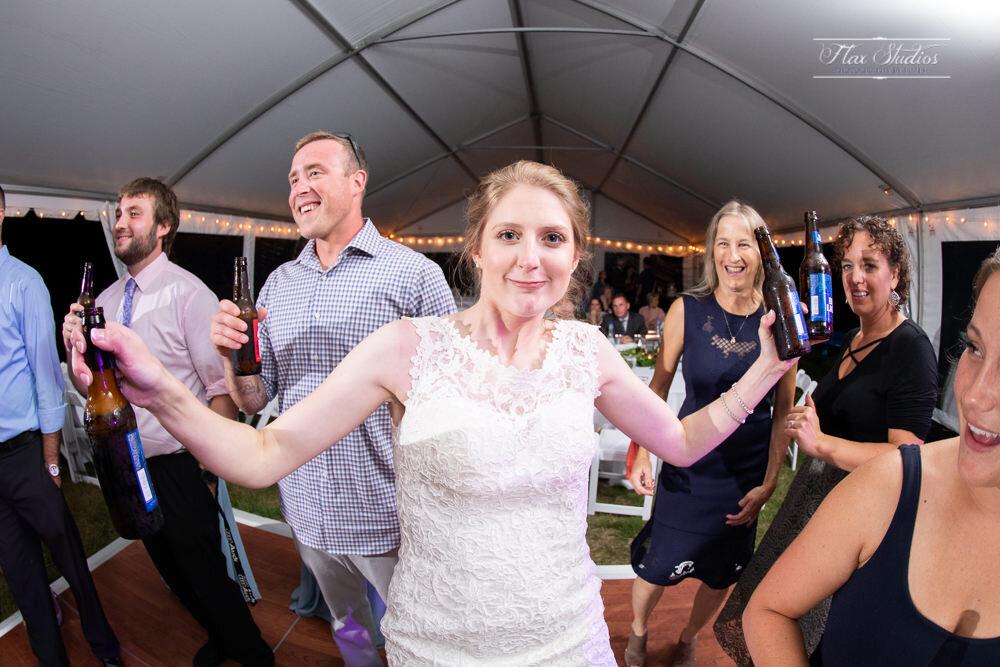 bride with 3 beers