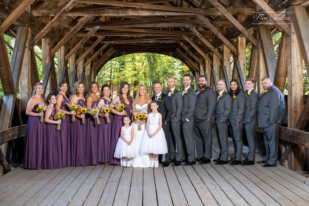 bridal party photos on the newry covered bridge