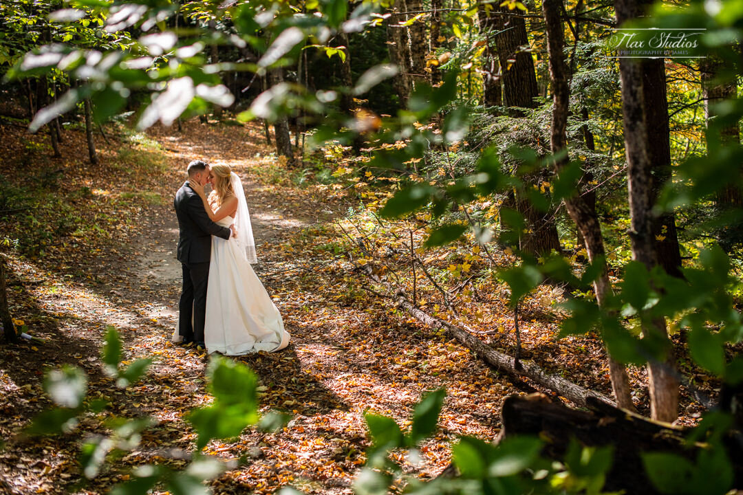 romantic wedding photos in the forest