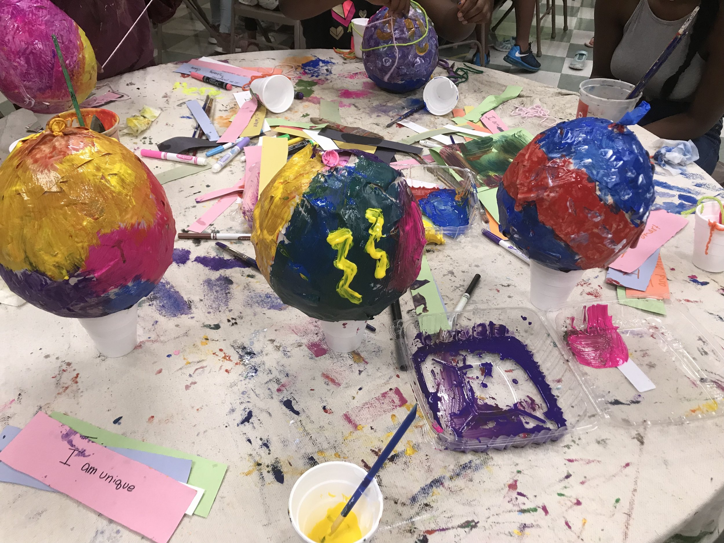 Self affirmation paper mache hot air balloon project with Paint Love and Camp Peace