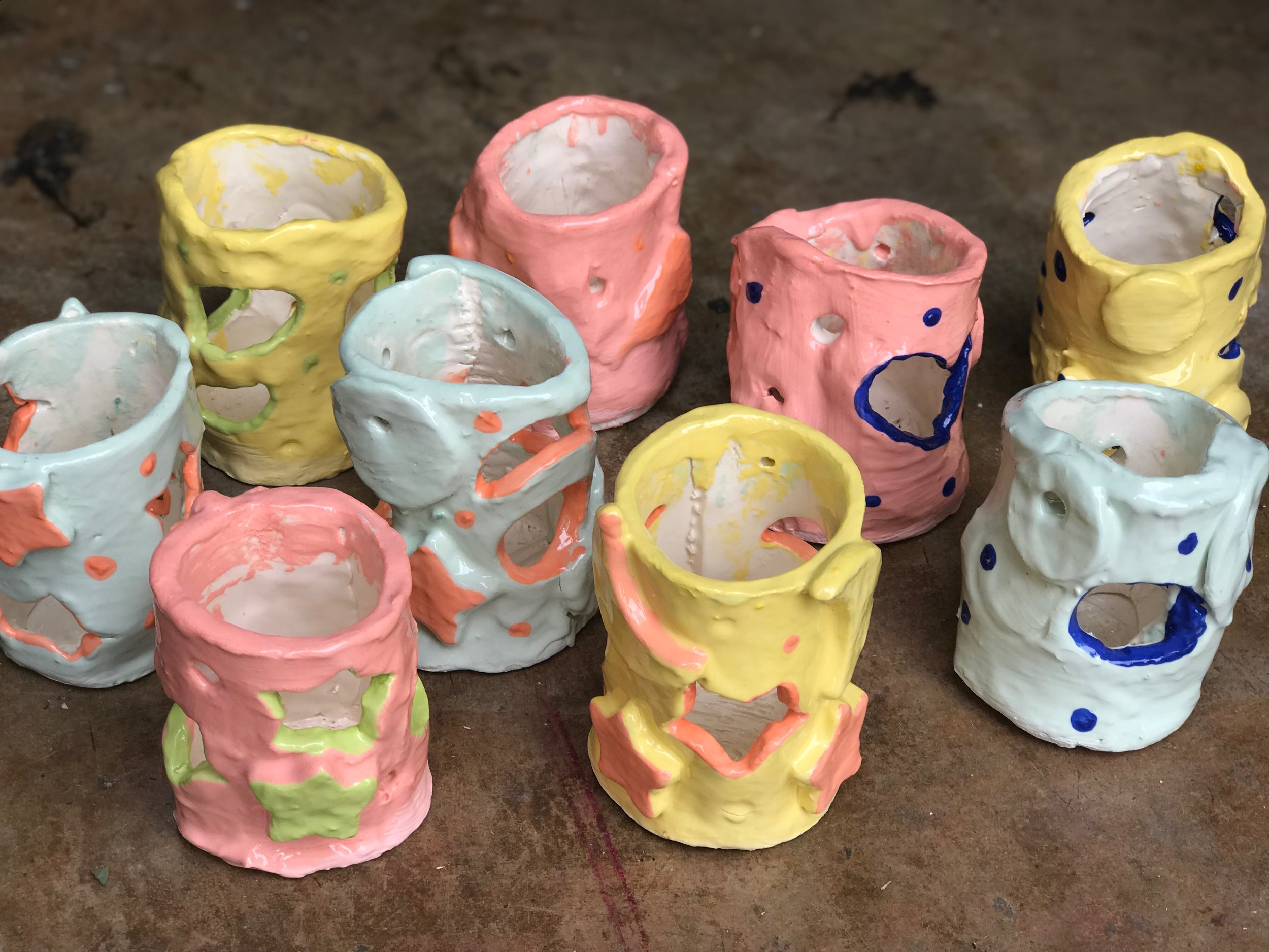 Paint Love art project with preschoolers at Our House Atlanta, clay luminaries!