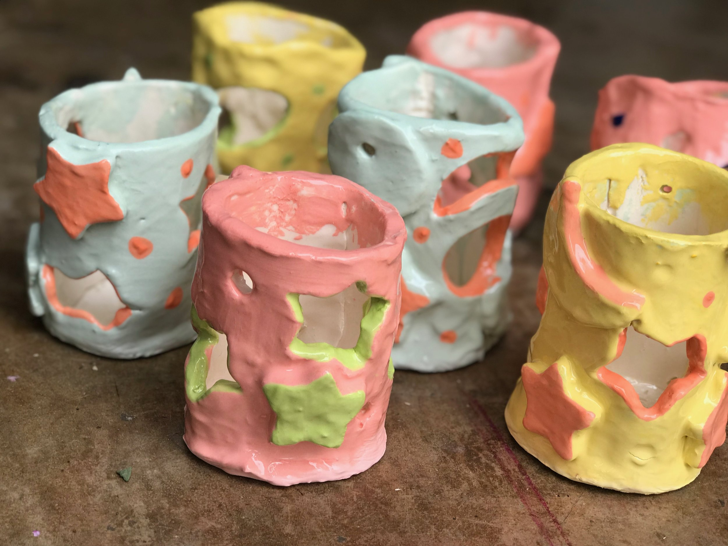 Paint Love summer art project with Our House Atlanta preschool, clay luminaries with clay artist Nikita Raper