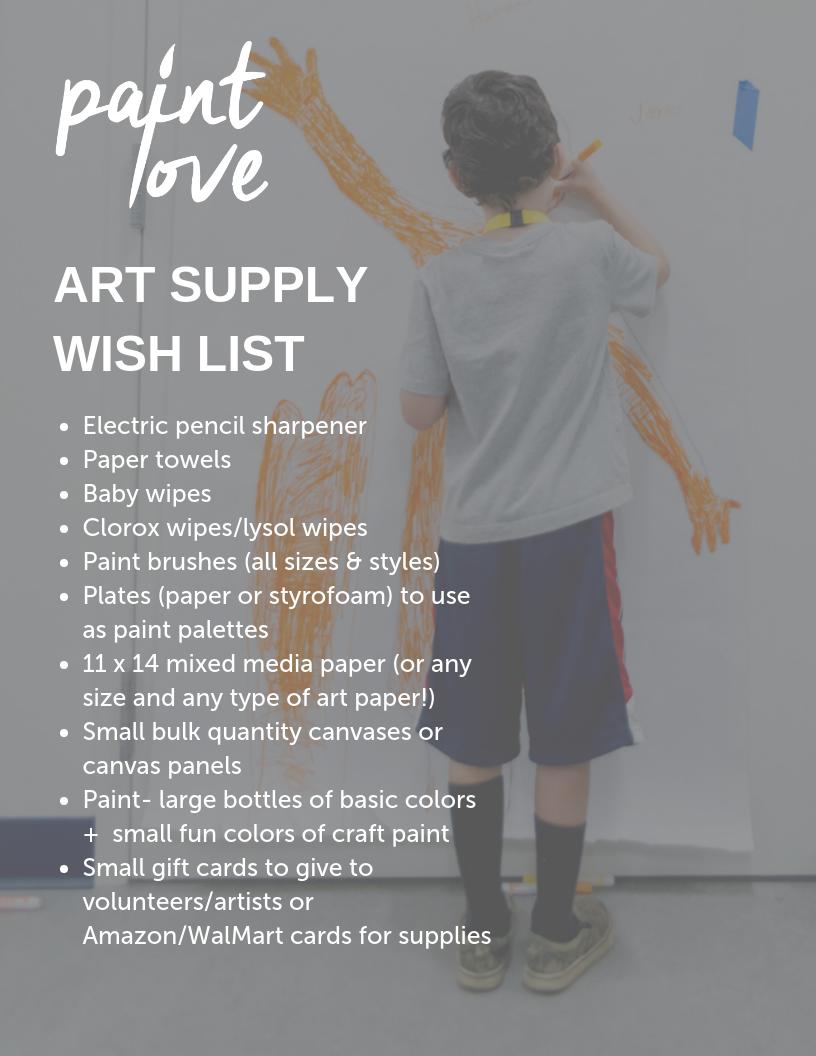 Atlanta art education nonprofit Paint Love art supply donation wish list
