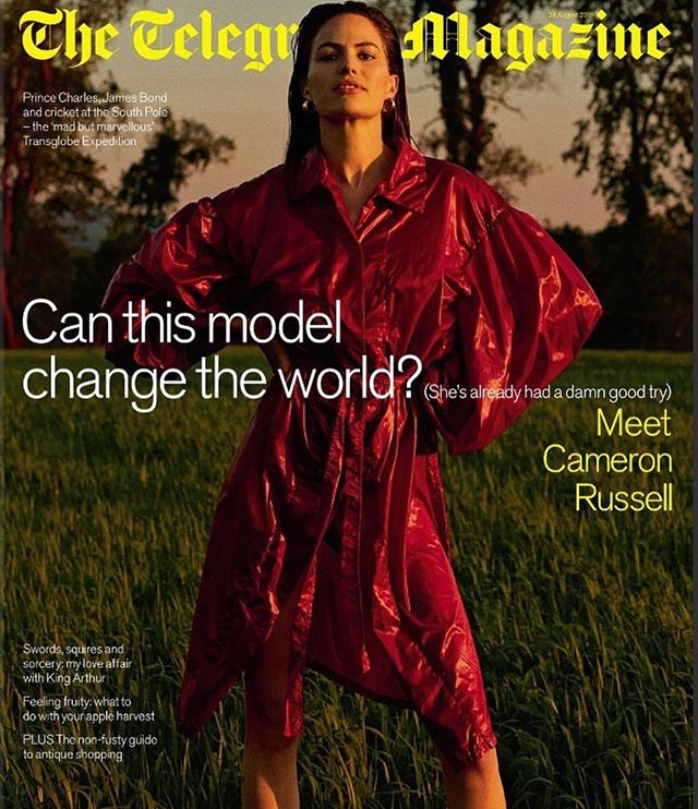 Humbled to be on this cover with @cameronrussell wearing our osho trench. Thank you @telegraphfashion
