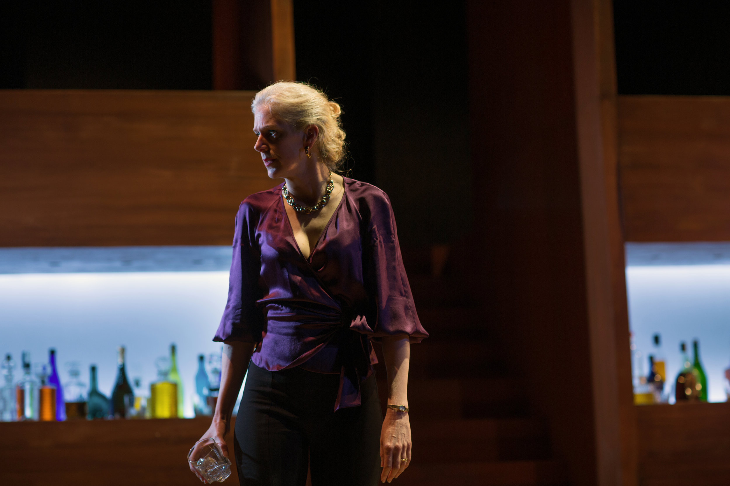 """""""Wilmurt glides across the stage, tapping parts of the set as if Martha is feeling the outlines of her soul. The scene is often played as a drunk lashing out at the world, at odds with everything and everyone around her. But Wilmurt's touch is gentle and precise. Through her superb performance, we realize how fragile Martha is, and how delicate the life and world she's made truly are. Drunk has never been so exacting and painful.""""      KQED.ORG review"""