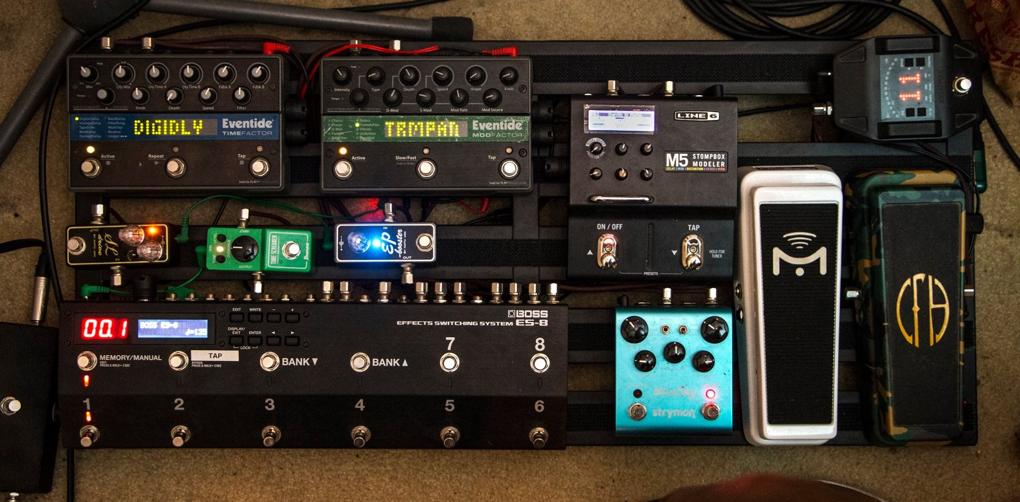 The current iteration of my pedal board.