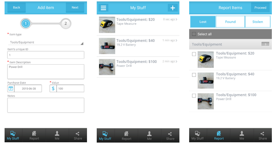 Screenshots taken from Rejjee App.  (Far Left) Input product information for easy access later. (Middle) View of tool and equipment inventory (Far Right) Easily report your property lost or stolen and/or create a police report or and insurance claim with the click of a button.