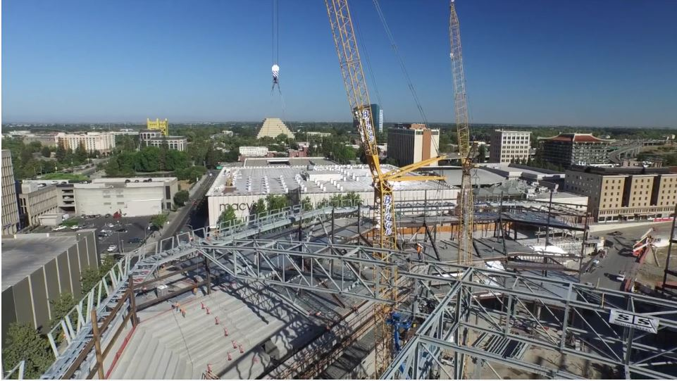 Drone footage of the  Golden 1 Center construction , video below.