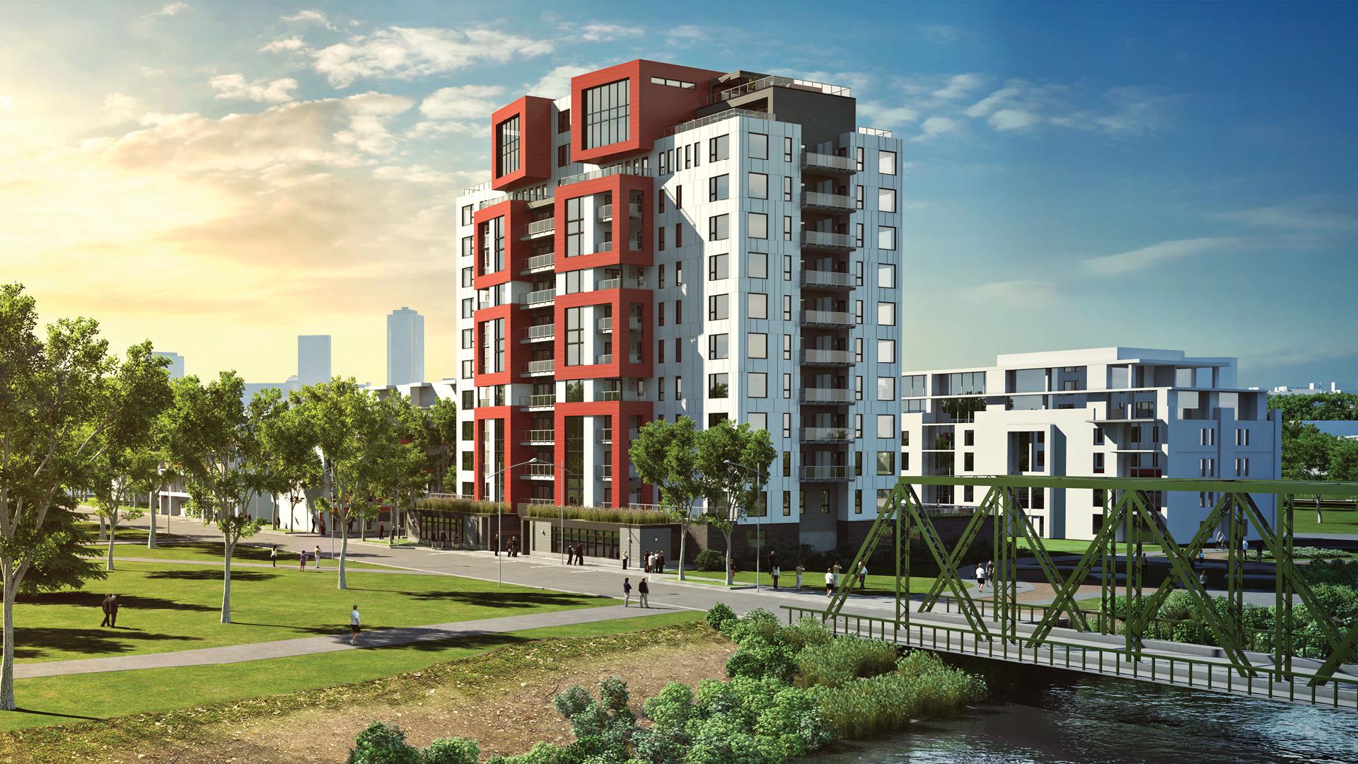 The Origine Condominium Complex. Rendering courtesy of  Nordic Structures