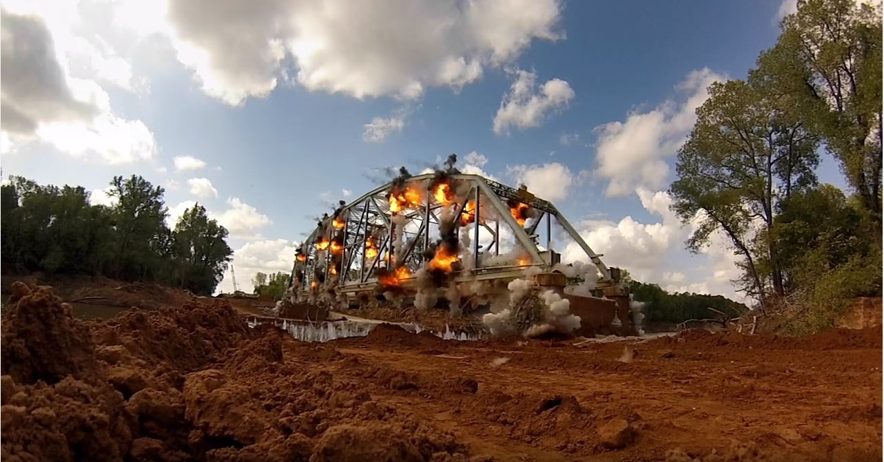 super slow mo bridge demolition