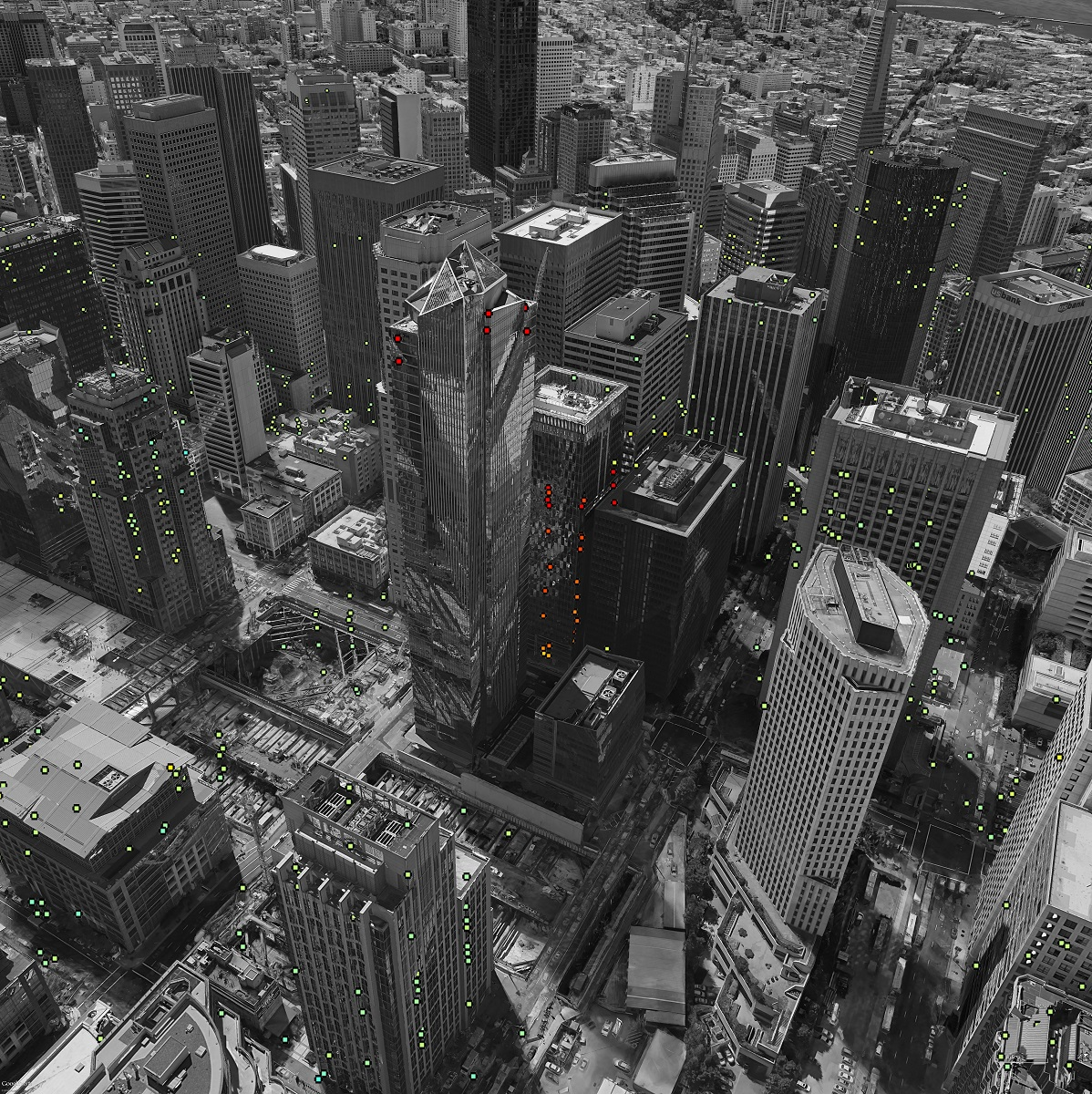 Photo: ESA SEOM INSARAP study / PPO.labs / Norut / NGU.  Red dots show areas that are sinking, green indicates no movement.  The Millennium Tower is pictured in the center.