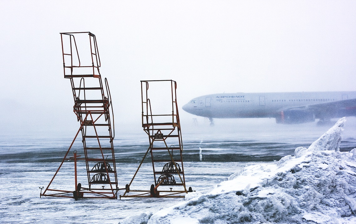 snowy airport